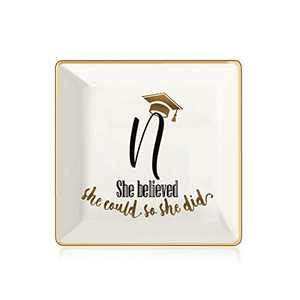 College Graduation Gifts for Her, Class of 2021 Graduation Gifts Grad Present Inspirational High School Graduation Gifts for Her, She Believed She Could So She Did Letter N Initial Jewelry Tray