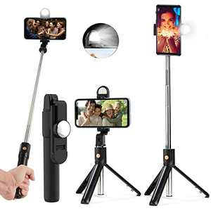 Selfie Stick Tripod, Extendable Bluetooth Selfie Stick with Fill Light and Wireless Remote for Selfie/Group/Photos/Vlog, Portable, Lightweight, Compatible with iPhone and Android Smartphone - Black