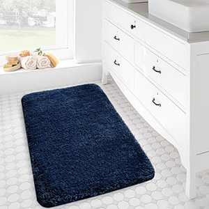"""Bathroom Rug Mat 20""""x32"""" Extra Soft and Absorbent Bath Rugs Mats Non-Slip Carpet Mat for Tub Shower and Bath Room Machine Washable Dry (Navy Blue)"""
