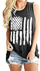 Patriotic Tank Tops for Women American Flag Shirt Sleeveless Fourth of July Tops Memorial Day USA Flag 4th of July Top Graphic Tees Grey M