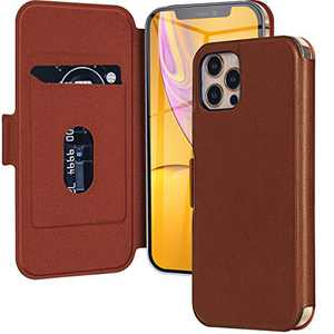 Wireless Charging Magnetic Leather Wallet Phone Case for Apple iPhone 12/12 Pro, Anti-Scratch and Anti-Fingerprint Full Body Protective Basic-Cases Compatible with iPhone 12/12 Pro-6.1inch Brown