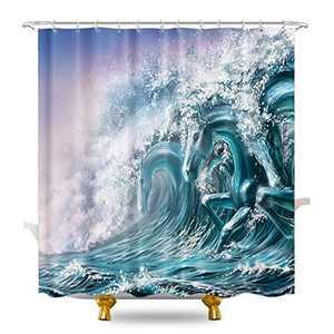 KOMLLEX Modern Abstract Horse Shape Waves Shower Curtain for Bathroom Decor 60Wx72H Inch Summer Ocean Seawater Bathtub Decor Aesthetic Hawaii Seascape Surfer Fabric Waterproof Polyester 12 Pack Hooks