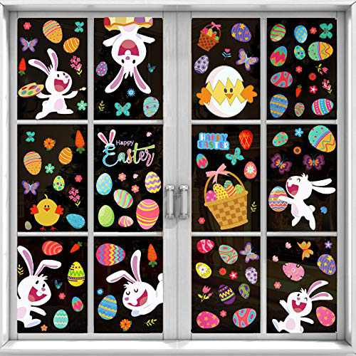 Garma 189 PCS Easter Decorations Window Clings, Easter Window Stickers Decals Bunny Egg Chick Carrots Baskets for Home, Office, Kids School Decor Party Supplies
