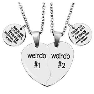 MJartoria Best Friend Necklaces BFF Necklace for 2 Friendship Valentines Day Gifts Split Heart Necklace Weirdo 1 Weirdo 2 Best Friends Forever Pendant Set Side by Side
