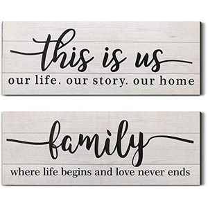 Jetec 2 Pieces This is Us Rustic Print Wood Sign Framed Family Rustic Wooden Wall Decor Farmhouse Entryway Signs for Bedroom Living Room Office Home Wall Outdoor Decor (Distressed White)
