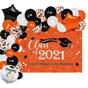 Orange Graduation Photo Backdrop Banner And Balloons Garland Class of 2021 Decoration Kits Congrats Grad Commencement Party Center Photography Background Ideas