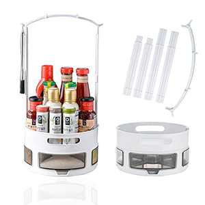 Lazy Susan Turntable,Spice Rack Organizer for Cabinet with 4 x Divided Spice Bins & 4 x Spoons,Organizer for Kitchen/Fridge/Bathroom/Pantry/Makeup/Table
