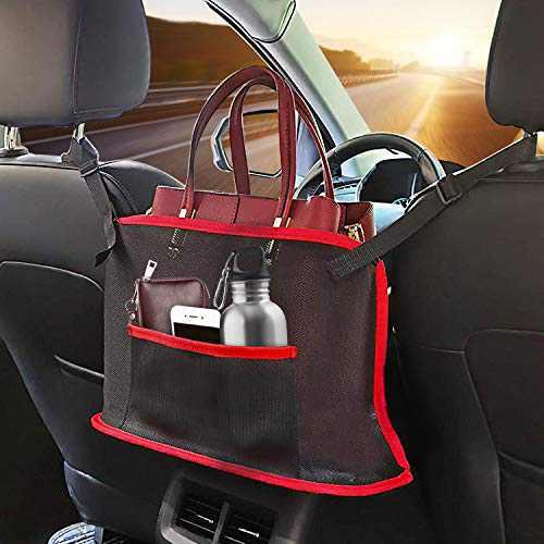 JJUYUUA Car Net Pocket Handbag Holder, Car Purse Holder Between Seats, Mesh Car Backseat Organizer, Seat Back Net Bag, Driver Storage Netting Pouch, Barrier of Backseat Pet Kids (Red)