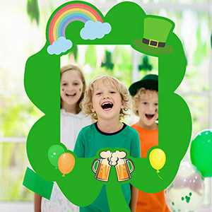 Crenics St. Patrick's Day Photo Booth Frame, St. Patricks Day Shamrock Photo Props for Saint Pattys Day Party Decoations Supplies - Upgraded Version With Durable Plastic Corrugated