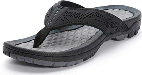 WHITIN Men's Outdoor Waterproof Flip Flops Thong Sandals with Arch Support Size 9 Slip Resistant Hiking Climbing Sandles for Male Indoor Sport Athletic Slides Summer Beach Slipper Black 42