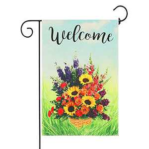 "Welcome Garden Flag Summer Garden Flag Colorful Floral Flowers Outdoor Yard Decor 12""x 18"" Double Sided Summer Garden Flag Banners for Patio Lawn Outdoor Home Decor"