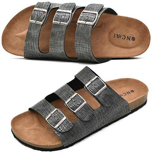 ONCAI Men's Grey Sandals,Classic Soft Leather Arizona Slides-Summer Cork Flat Florida Beach Slipper with Three Adjustable Buckle StrapSize 11