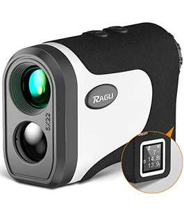 RAGU Laser Golf/Hunting Rangefinder with Slope Pin-Seeker Flag-Lock Vibration Continuous Scan, High Precision and LCD Reading, Distance Angle Measurement Range Finder for Golf Course Hiking Measuring