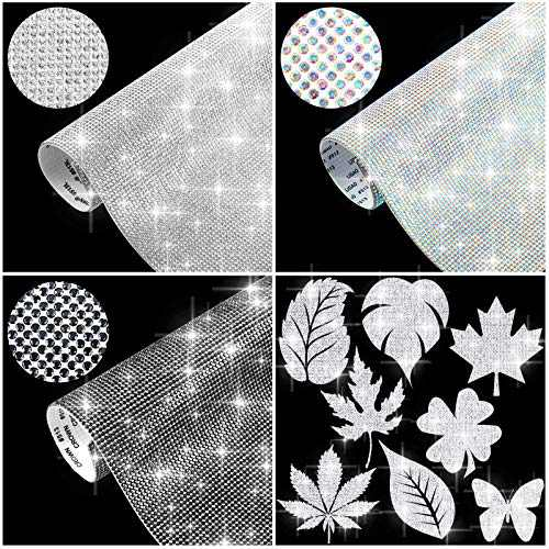 29160 Pieces Crystal Rhinestone DIY Sheets Crystal Sheets Stickers Self-Adhesive DIY Glitter Sticker Sheet Bling Decorations for Car Cellphone DIY Crafts Decoration 7.8 x 9.4 Inch, 3 Colors