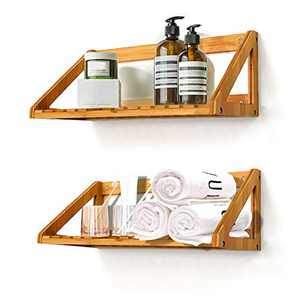 NIUXX Floating Shelves Wall Mounted, 2 Pcs Solid Bamboo Wall Hanging Rack Holder, Wall Storage Shelves for Bedroom, Living Room, Bathroom, Kitchen, Office Decor
