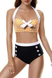 Peddney Women Halter High Waisted Bikini Swimsuit Push Up Bathing Suit Retro Tie Front Two Piece Swimsuit