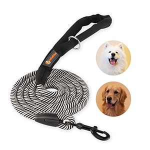 FAT CHAI & MARK 6FT Heavy Duty Rope Dog Leash with Soft Padded Handle Highly Reflective Threads Strong Training Leashes for Small Medium Large Puppy Dogs Black-White
