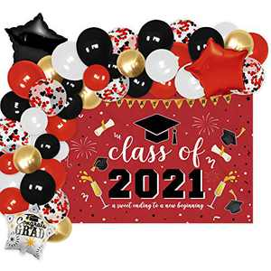Red Class of 2021 Graduation Photo Backdrop Banner And Balloons Garland Decoration Kit A Sweet Ending to A New Beginning Scarlet Congrats Grad Party Center Photography Background Ideas