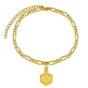 Initial Ankle Bracelets for Women, 18K Gold Figaro Chain A-Z Letter Alphabet Anklets for Teen Girls Beach Foot Jewelry