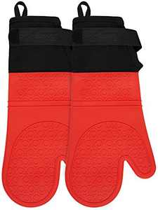 Silicone Oven Mitts with Adjustable Cuff, RoomyRoc Oven Mitt with Non-Slip Gripand Thicker Liner, Heat Resistant Pot Holders, Extra Long Professional Soft Flexible Oven Gloves,Red, 1 Pair, 14.7 Inch