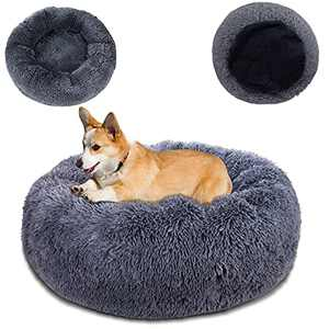 """Topmart Plush Calming Dog Bed,Washable Cat Donut Bed,Anti Anxiety Plush Dog Bed,Faux Fur Donut Cuddler Cat Bed for Small Dogs and Cats,30"""" × 30"""",Grey"""