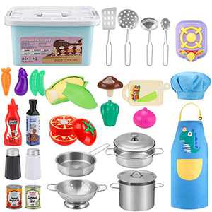 COSILY 30Pcs Pretend Play Kitchen Toys, Kitchen Playset Cooking Toys Set Stainless Steel Play Pots and Pans, Kitchen Utensils, Cutting Vegetables, Knife, Apron, Chef Hat, and Storage Container