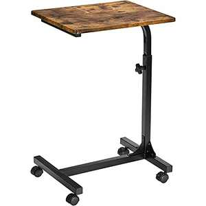 Over Bed Table C Side Rolling Table 3 Adjustment Levels with Lockable Rolling Wheels Medical Portable Notebook Laptop Desk TV Tray Table for Eating Breakfast (Vintage, 18.9 x 14.7 x 31.1 Inch)