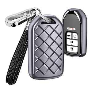 AIHOK Key Fob Cover for Honda Civic Accord,Weave TPU Key Fob Case with Leather Keychain Lanyard Key Holder for CRV Odyssey Pilot Element Ridgeline Clarity CRZ HRV EX EX-L,Gray