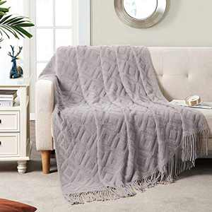 """BRSnugU Throw Blanket for Couch,Warm & Cozy Fluffy Acrylic Knitted Bed Throws with Tassels for Sofa,Decor,Travel,All Seasons Suitable for Adults and Kids,50""""x60"""",Light Grey"""
