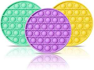 3PCS Push pop Bubble Fidget Sensory Toy, Autism Special Needs Stress Reliever Silicone Stress Reliever Toy, Stress and Anxiety Relief for Homeschool & Office, 3Pcs Yello Purple Green