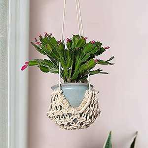 "Macrame Plant Hanger- Boho Chic Flower Pots Holder with Flat Cotton Bottom Decorative Handmade Bohemian Hanging Basket Net Bag Artistic Garden Home Decor for Indoor Outdoor Flower Showing (32"" L)"