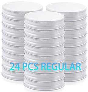 Metal Mason Jar Lids Compatible with Ball Kerr Mason Jars Regular Mouth,White,24 Packs