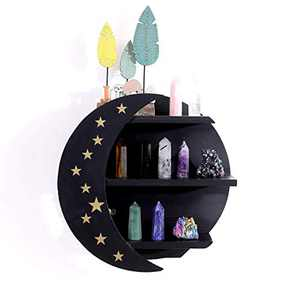AMEAEEL Wooden Moon Shelf Pine Wood Deco Shelves Hanging or Standing for Crystals Black Moon and Stars Shelves(Black&Stars)