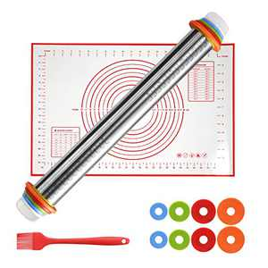 SUTINE Rolling Pin With Adjustable Thickness Rings Silicone Pastry Mat Basting Brush Set ,Stainless Steel Rolling Pins for Baking Pizza ,Cookies, Fondant, Pasta and Pie Crust