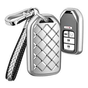 AIHOK Key Fob Cover for Honda Civic Accord,Weave TPU Key Fob Case with Leather Keychain Lanyard Key Holder for CRV Odyssey Pilot Element Ridgeline Clarity CRZ HRV EX EX-L,Silver