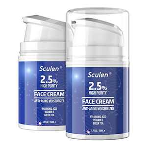 sculen Premium Retinol Cream, Anti-Aging Moisturizer Cream 2.5% for Face and Eye Care, Anti-Wrinkle Essence with Hyaluronic Acid, Vitamin E and Green Tea, Day and Night Cream, 1.7 Fl.Oz, 50ml