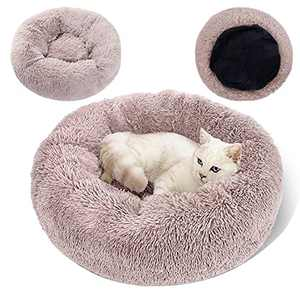 """Topmart Plush Calming Dog Bed,Washable Cat Donut Bed,Anti Anxiety Plush Dog Bed,Faux Fur Donut Cuddler Cat Bed for Small Dogs and Cats,30"""" × 30"""",Beige"""