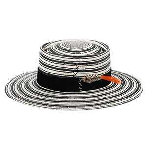 Straw Hats for Men Women Pork Pie Boater Hat Vintage Wide Brim Distressed Summer Beach Sun Hat with Feather