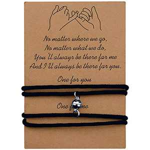 PZXHRY Couple Magnetic Rope Bracelets for Women Men Boyfriend Girlfriend Husband Wife Valentine's Day Gifts Him Her Mutual Attraction Distance Relationship Matching BFF Best Friend Sister Black