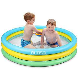 AKASO Kiddie Pool, Inflatable Kids Swimming Pools For Boys, Girls, Toddlers, Easy Set Up Swimming Pool In Garden / Backyard, Outdoor Summer Water Party, 59''13'', for Ages 2+