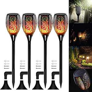 Solar Lights Outdoor, 4PCS Solar Flickering Dancing Flame Torch Lights Waterproof Security Lights Landscape Decoration Lighting Dusk to Dawn Auto On/Off for Garden Patio Deck Yard Driveway (24IN)