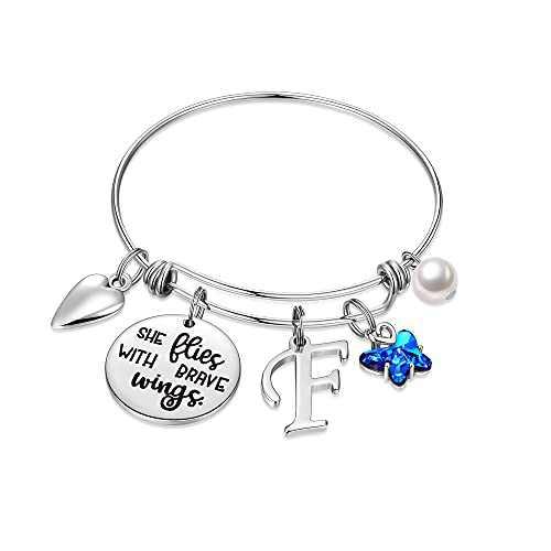IEFWELL Butterfly Gifts for Women, Stainless Steel Butterfly Bracelet Initial Bracelet F Charm Bracelet Letter Bangle Bracelets for Women Butterfly Jewelry