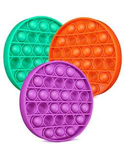 SUPBEC 3Pcs Push Pop Pop Bubble It Sensory Fidget Toy, Squeeze Sensory Toy, Autism Special Needs Stress Reliever Pressure Reliever Toy, Anti-Anxiety Toys for Kids Adults(Orange, Purple,Green)