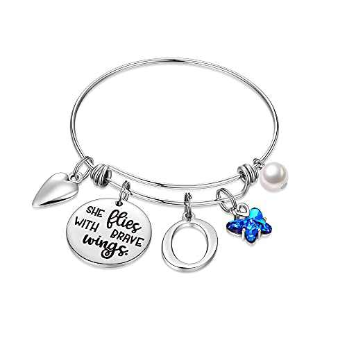 IEFWELL Butterfly Gifts for Women, Stainless Steel Butterfly Bracelet Initial Bracelet O Charm Bracelet Butterfly Jewelry Butterfly Gifts for Women Butterfly Jewelry