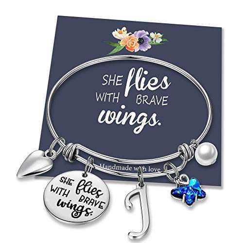 IEFWELL Butterfly Gifts for Women, Stainless Steel Butterfly Bracelet Initial Bracelet J Charm Bracelets for Teen Women for Women Butterfly Jewelry