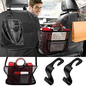 Car Net Pocket Handbag Holder with 2 Pcs Car Hooks, Cerbonny Seat Back Organizer Mesh, Large Capacity Car Seat Storage Net Bag for Purse Storage Phone Documents Pocket (New Upgrade, Black)