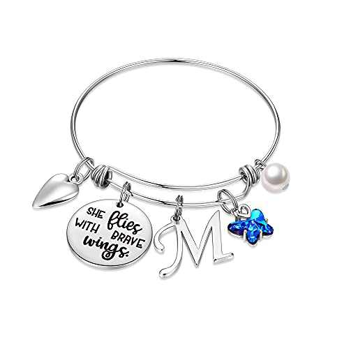 IEFWELL Butterfly Gifts for Women, Stainless Steel Butterfly Bracelet Initial Bracelet M Charm Bracelet for Women Butterfly Jewelry