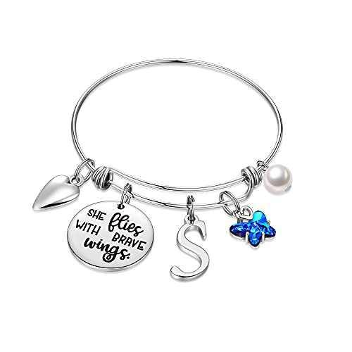 IEFWELL Butterfly Gifts for Women, Stainless Steel Butterfly Bracelet Bangle Bracelets Initial S Charm Bracelet Butterfly Gifts for Women Butterfly Jewelry