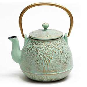 Tea Kettle, TOPTIER Japanese Cast Iron Teapot with Infuser for Loose Leaf and Tea Bags, Stovetop Safe Cast Iron Tea Kettle Coated with Enameled Interior for 41 oz, Light Green