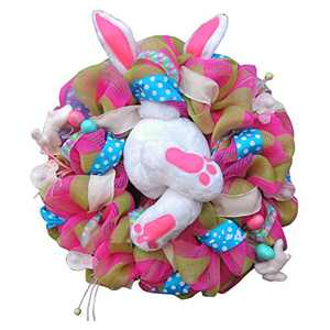 Easter Door Decorations Bunny Butt Wreath Kit Easter Spring Outdoor Indoor Hanging Welcome Sign Wreath Attachment Craft Supplies Ideas (A, 55x40cm)